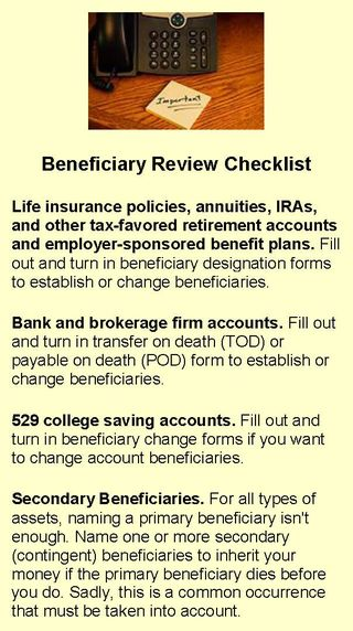 Beneficiary Review Checklist